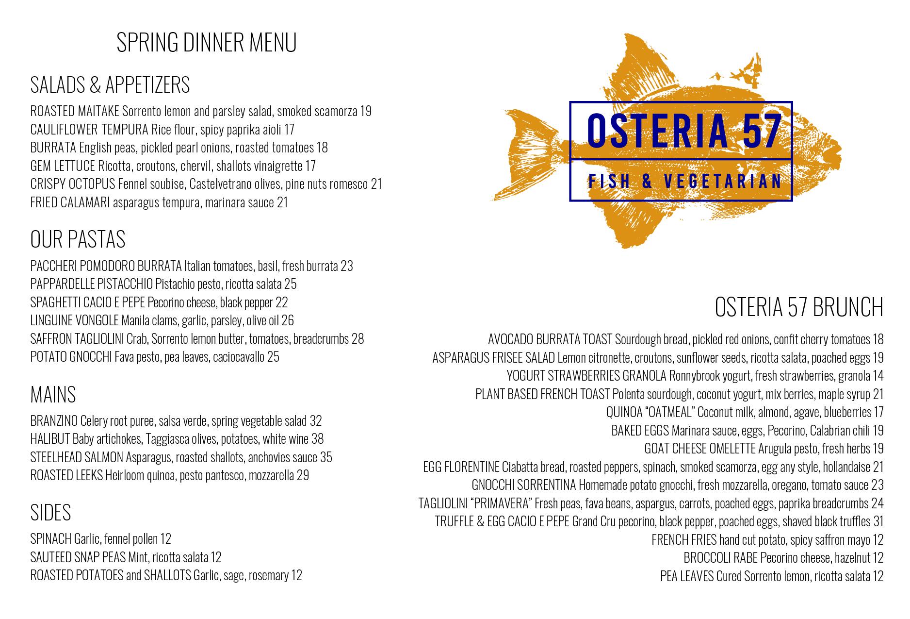 Osteria 57 food menu